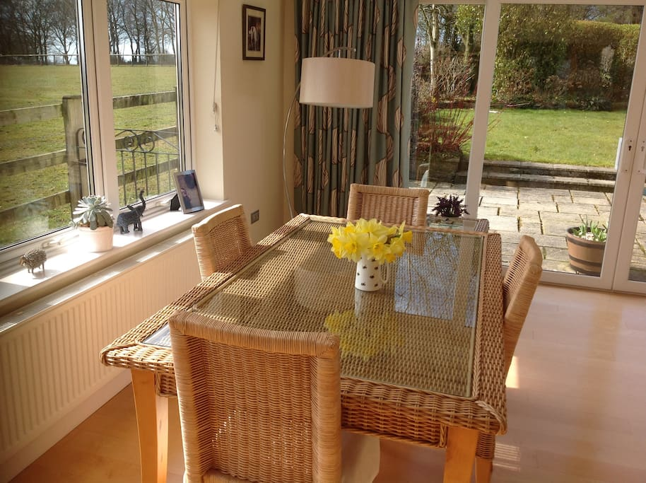 Relax and enjoy your breakfast looking out onto the gardens