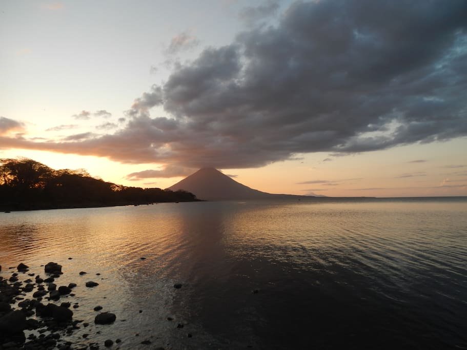 sunset view of Volcan Concepcion from our beach~*