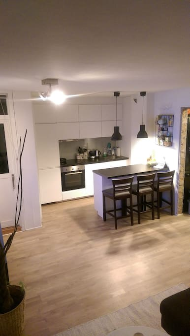 Modern kitchen with seating for three