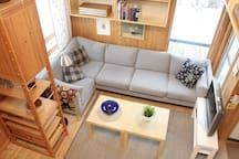 Living room with big couch
