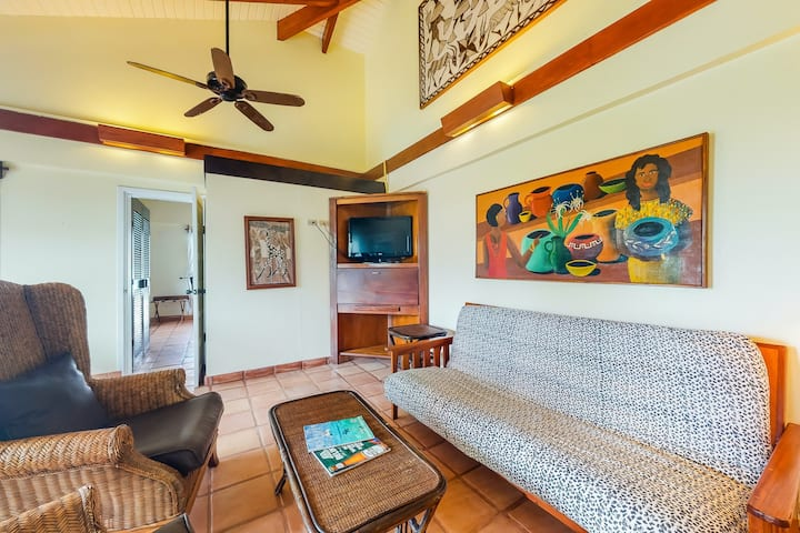 Comfortable oceanfront condo with shared pool, free WiFi, and pool & ocean views