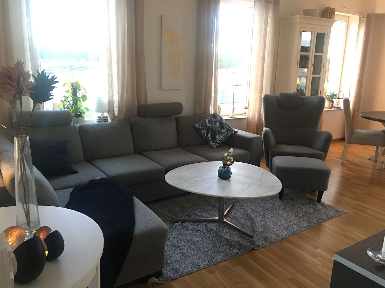 Bright apartment in Uppsala with big glass balcony