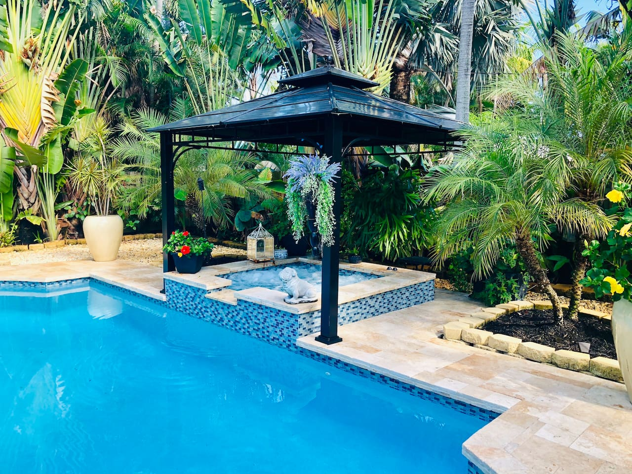 Our beautiful heated pool and hot tub