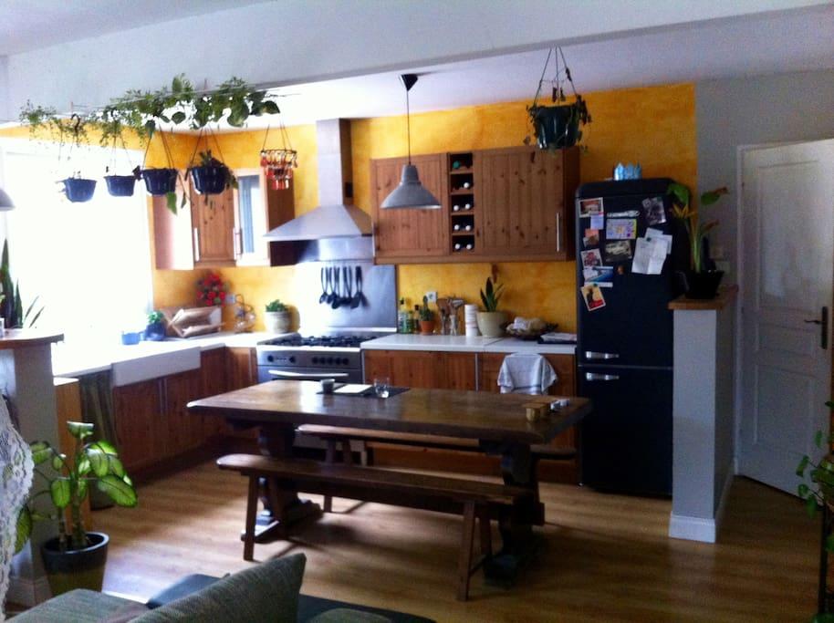 Cuisine ouverte sur séjour avec son piano de cuisson!