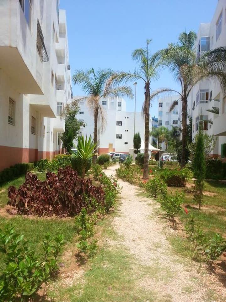 Appartement de 2 chambres à Agadir, avec magnifique vue sur la ville, balcon aménagé et WiFi