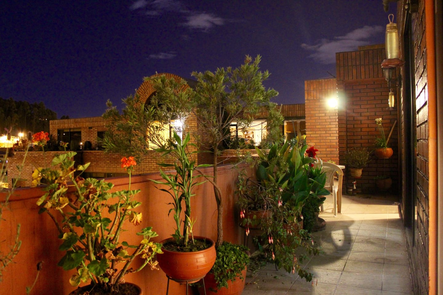 This is an evening view of the magnificent terrace of the apartment.