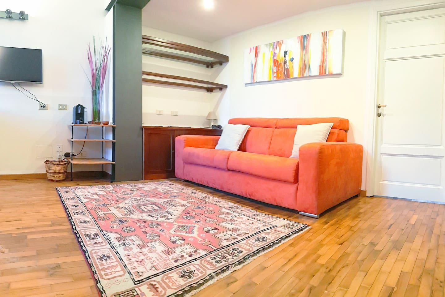 Living room with comfortable high quality sofa bed.