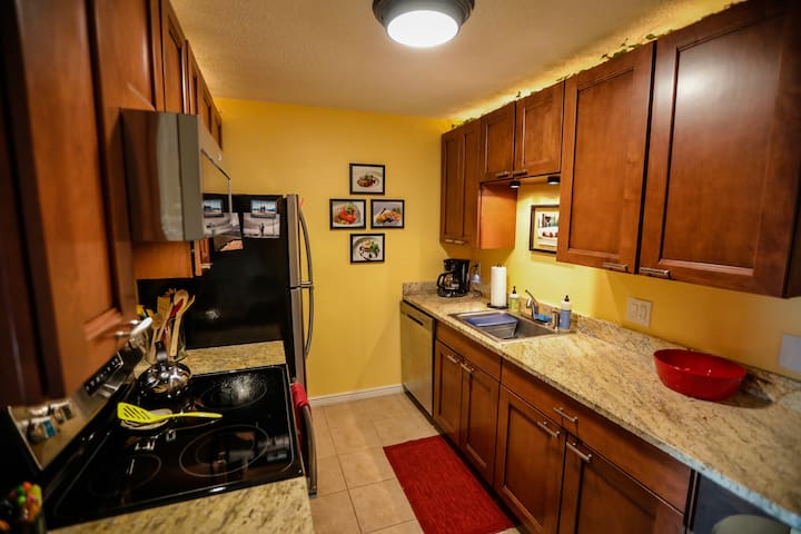 The kitchen features all new stainless steel appliances and all the cooking ware you'd need for any meal.