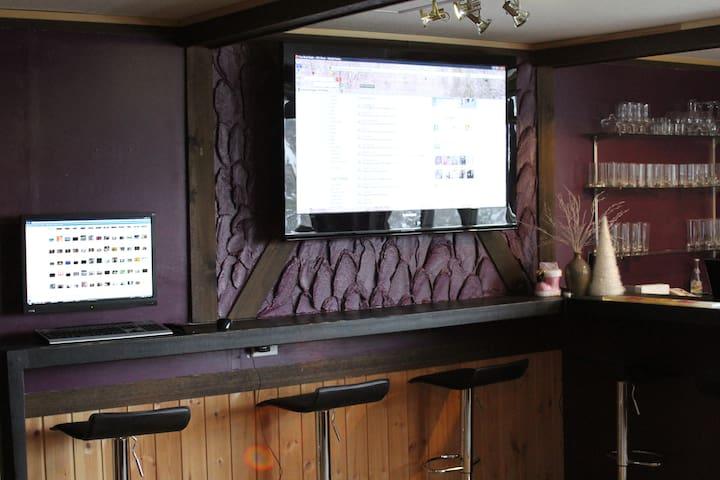 Big screen in the sports bar