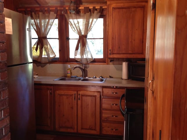 Kitchen W/ Stainless Steel Fridge/Glass Top Stove /Microwave/ Coffee Maker /all dishes...pots...pans...silverware.