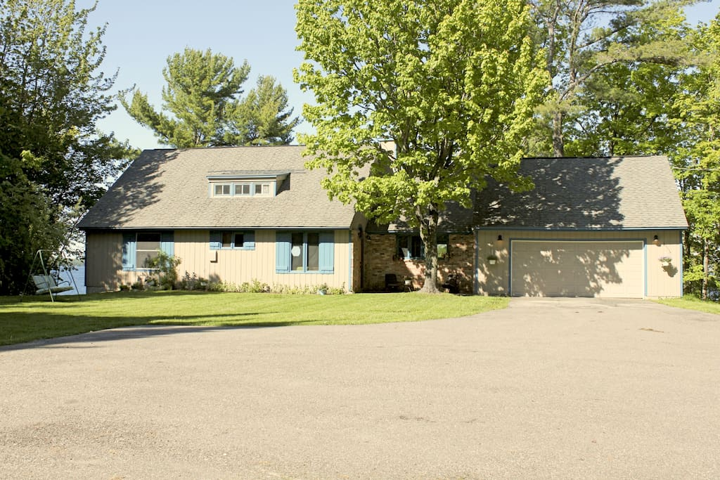 Large driveway with garage