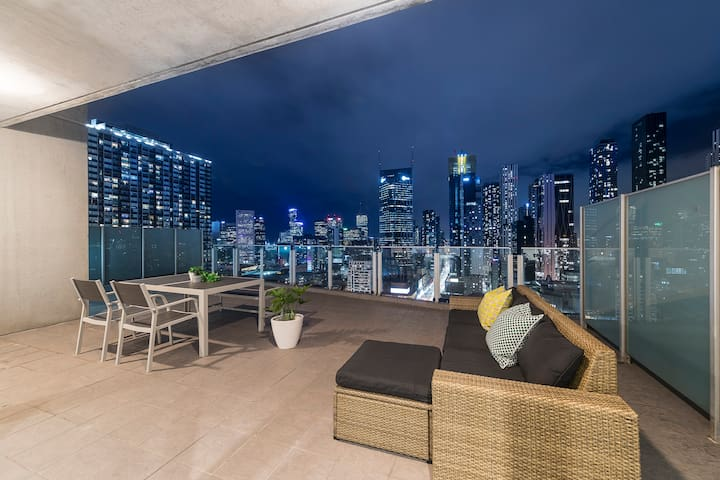 Enjoy the Melbourne night view from our oversized terrace
