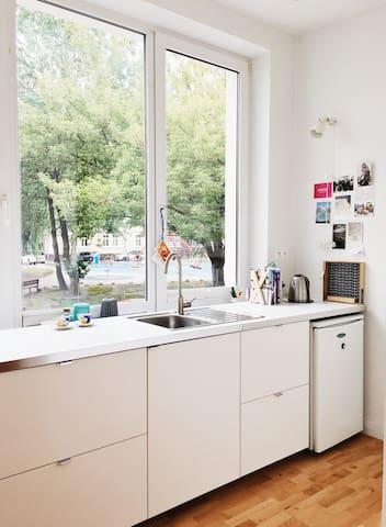 W pełni wyposażona kuchnia z widokiem na zielony dziedziniec. Fully equiped kitchen with view at green yard.