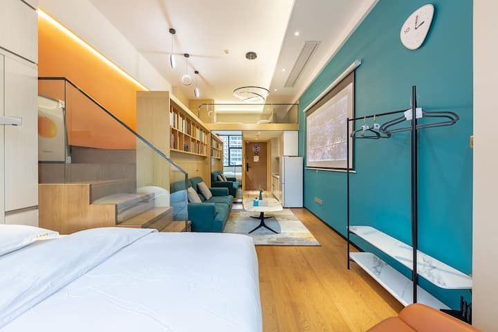 杭州东站|地铁口|直达西湖|loft百寸投影大床房