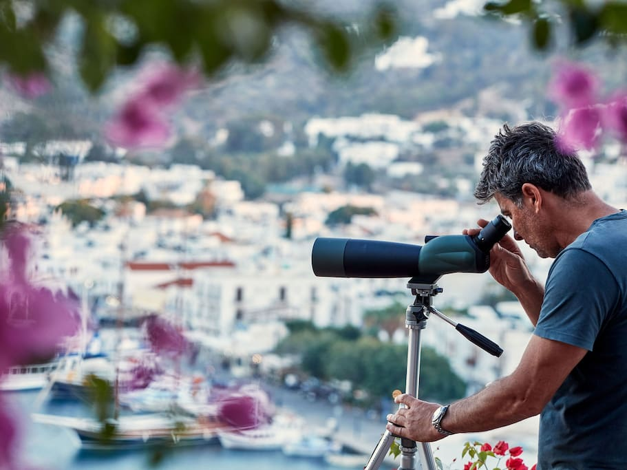 The eye of Patmos, metaphorically and literally. Use the telescope to see everything from your balcony.