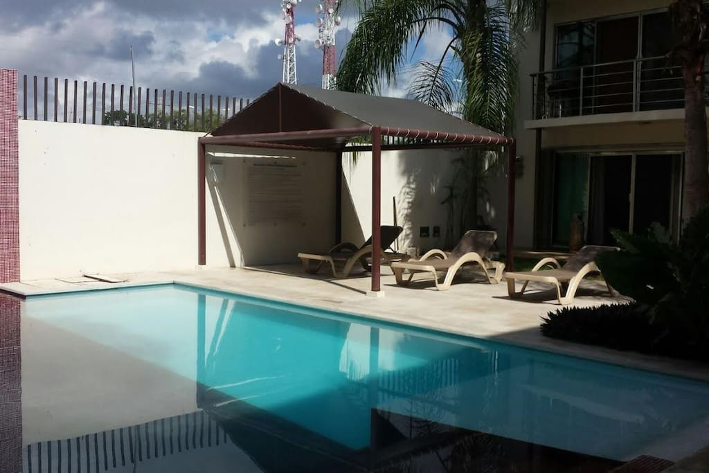 Pool area with sun lounges