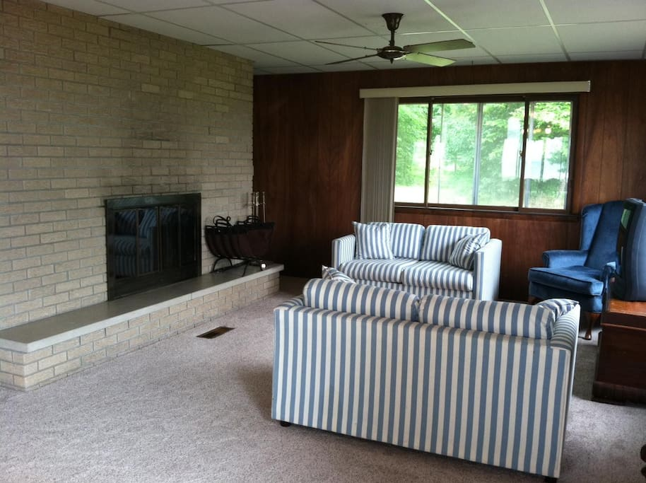 Living Room with wood burning