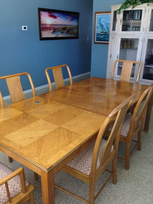 Large dining room table perfect for family dinners.