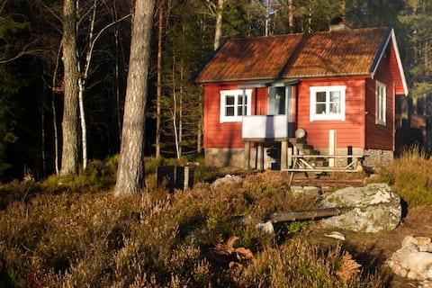 Stuga vid sjökanten i naturreservat