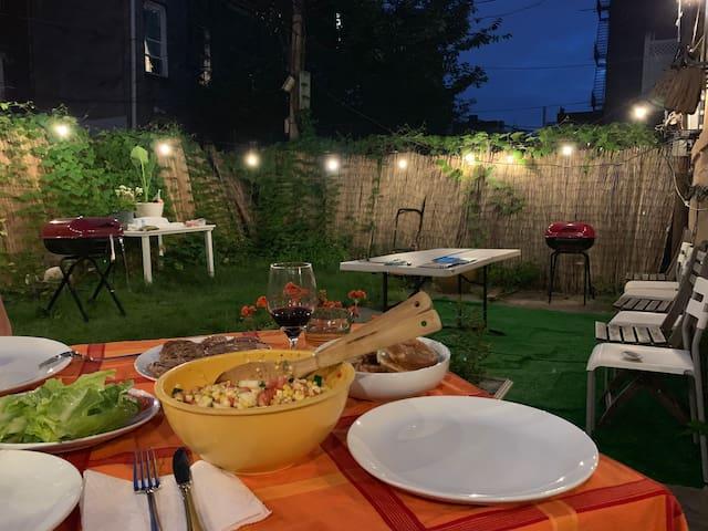 Backyard BBQ dinner