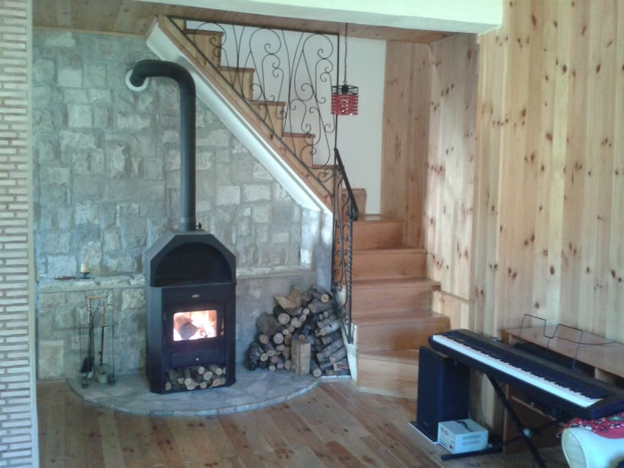 Fireplace and piano