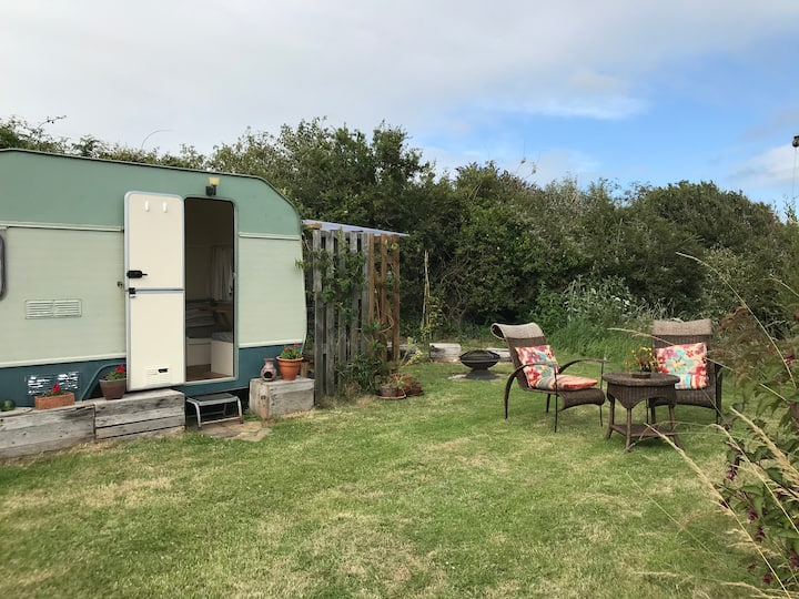Glamping  in South Devon Upcycled Caravan
