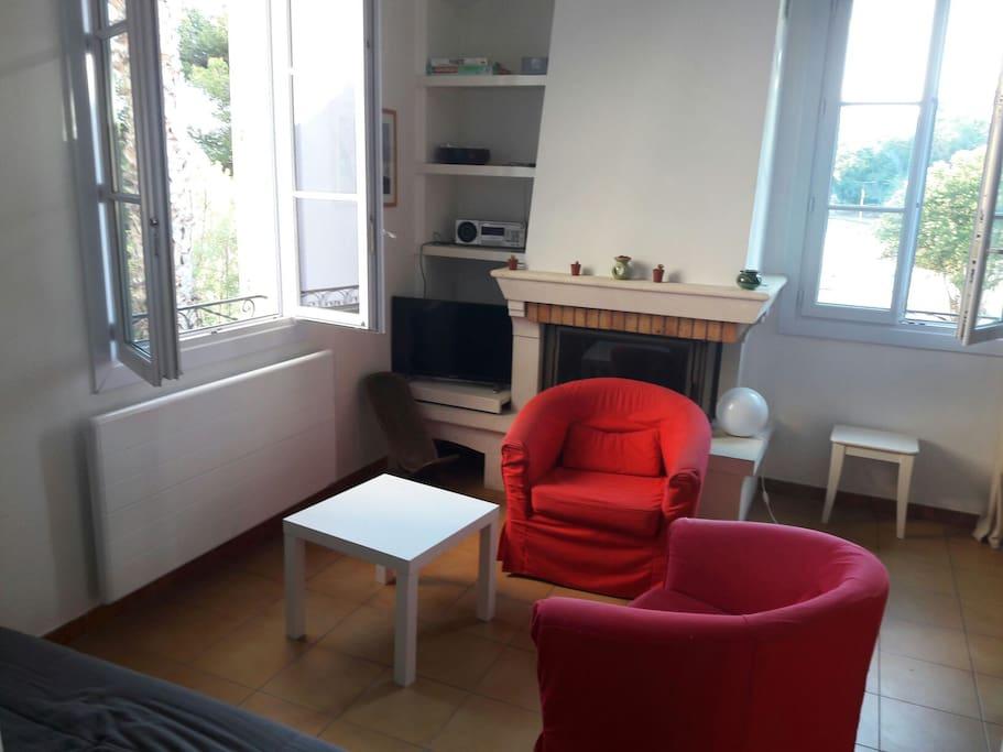 salon (canapé,  2 fauteuils, télévision, wifi)