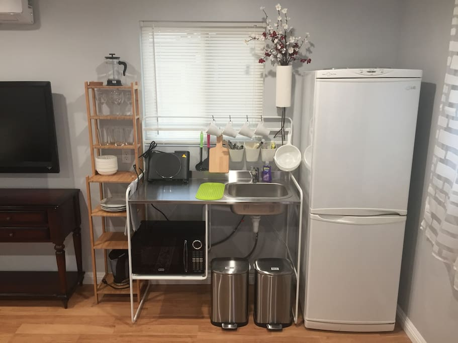 Kitchenette with everything you need, including coffee and tea