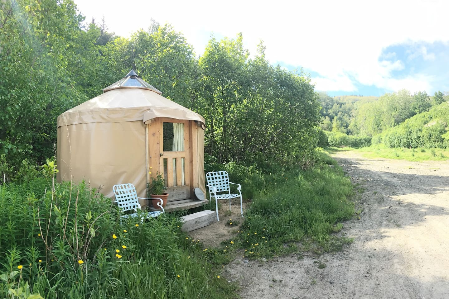 The Mini Yurt sits next to a beautiful creek. Hike up the trailhead and enjoy the views, and later, enjoy a campfire.