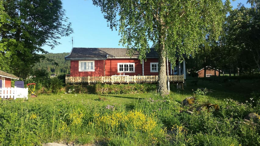 Charming wood cabin by the lake - Vikersund