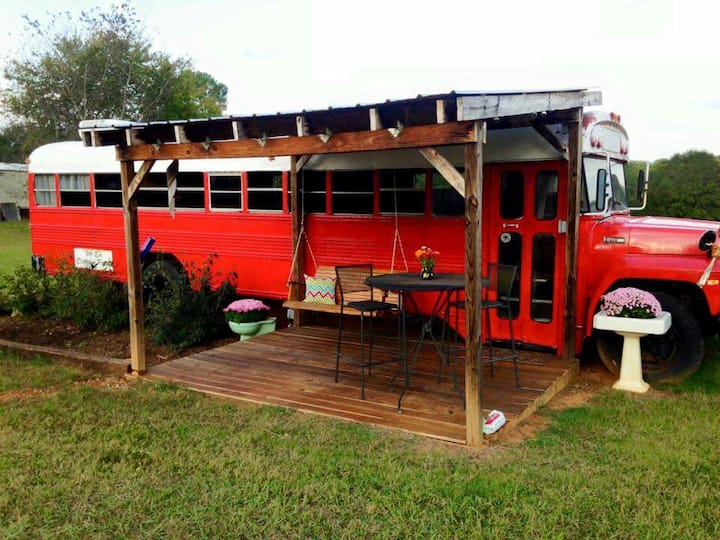 Cozy school bus in NC foothills.