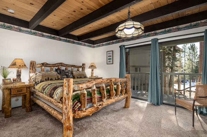 Master Bedroom with Cal King Bed and Private Deck