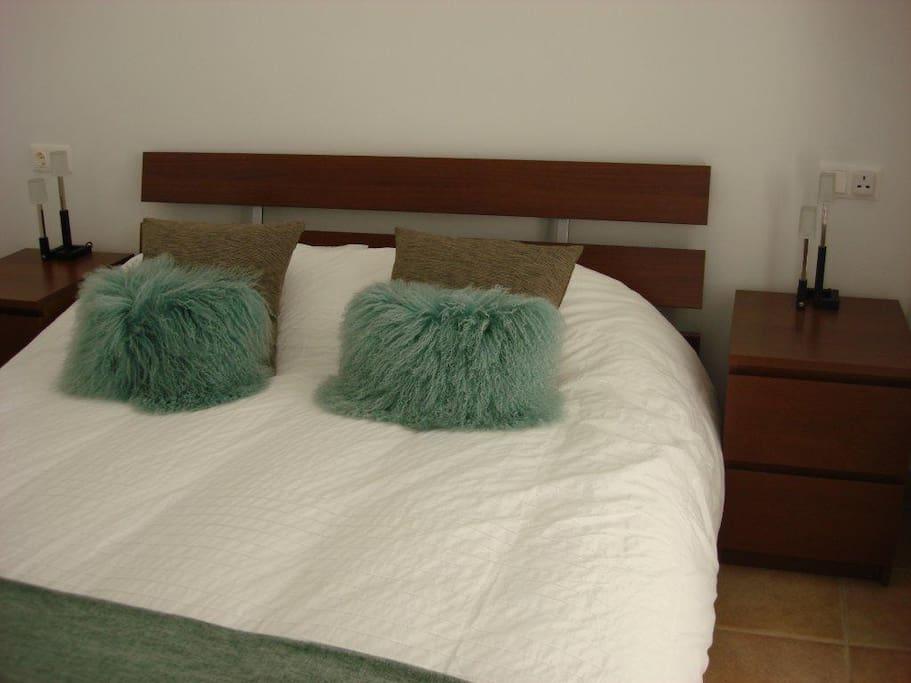 Attractive bedroom with built in wardrobes