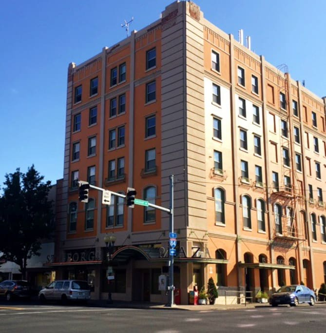 The outside of the St. George- Our windows are on the top floor, corner unit.