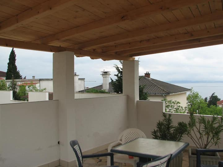 Two bedroom apartment with terrace and sea view Crikvenica (A-12592-a)
