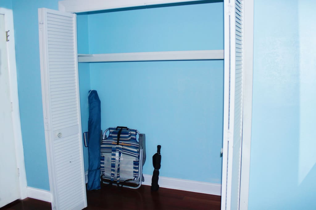 Large Closet/Beach Chair and Umbrellas