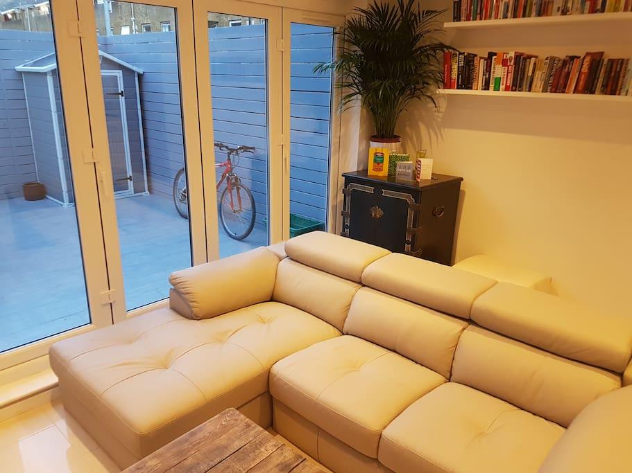 Beautiful new leather sofa