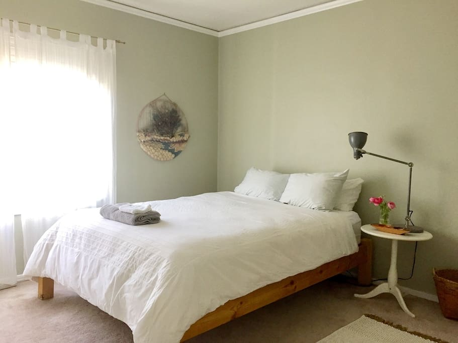 Your bedroom. Comfy (Beauty Rest) queen bed, cotton linens, north-facing window.