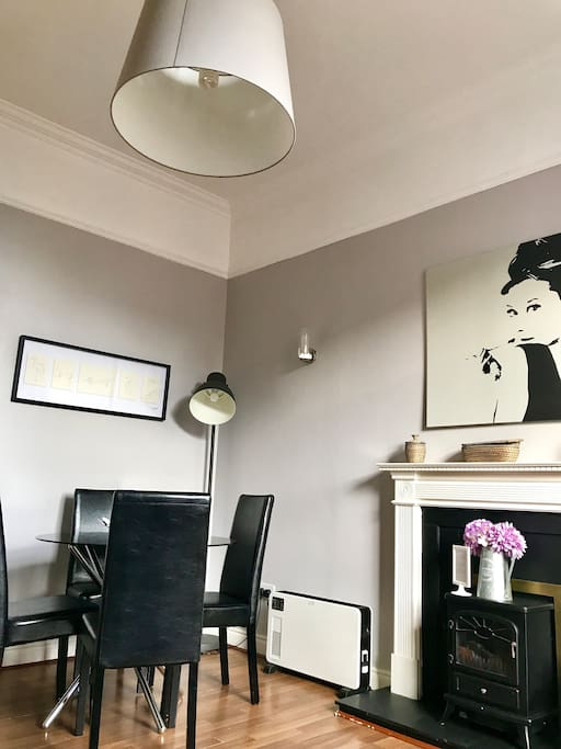 Living/dining area with high ceilings