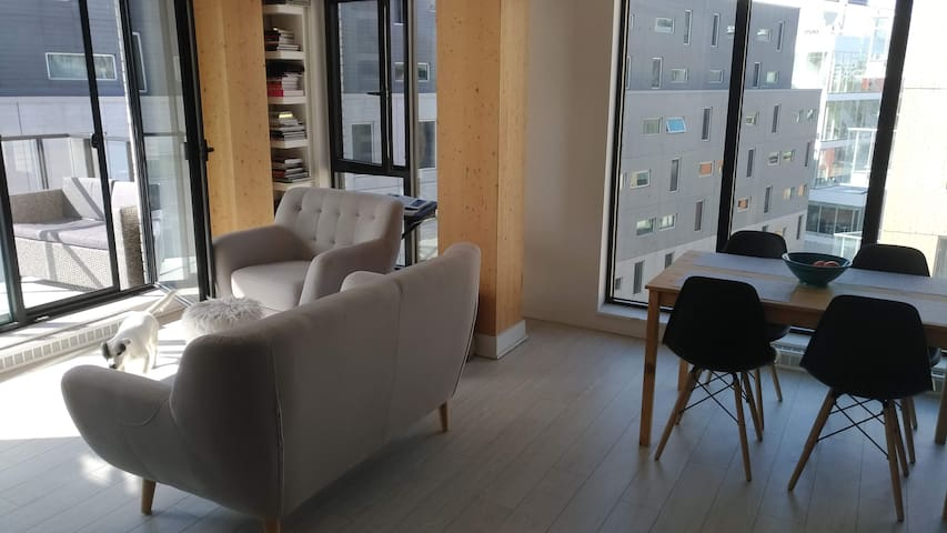 Open apartment with balcony in downtown Montreal