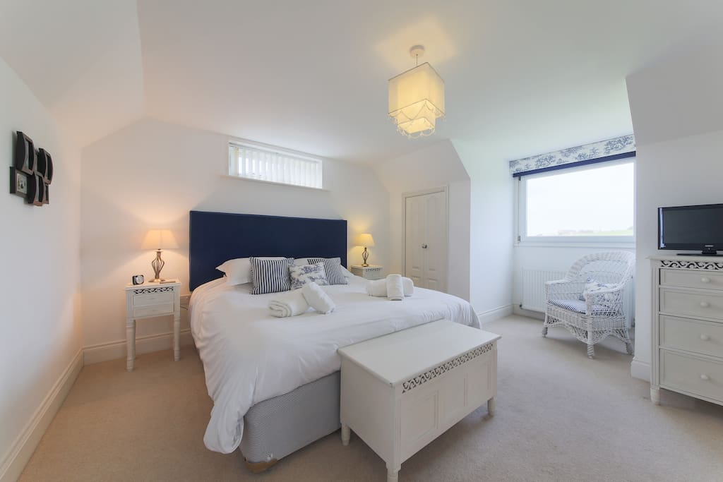 Charming blue bedroom, super king bed with wonderful views