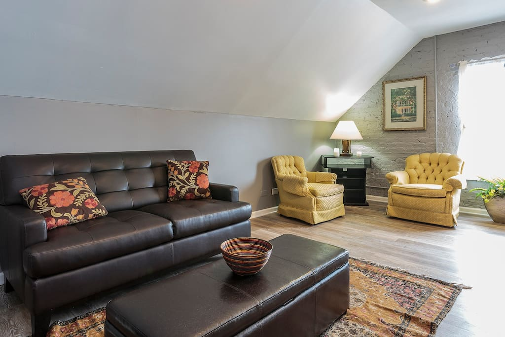 Our living room provides the perfect space to drink your coffee or plan your next adventure