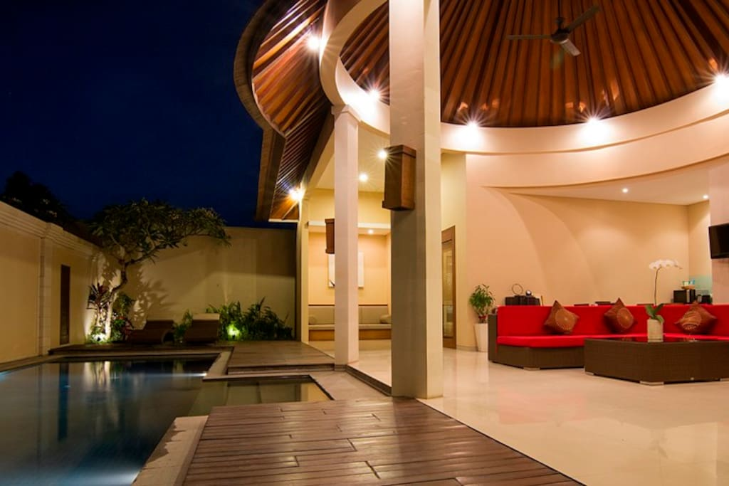 Indoor/outdoor open plan area is true luxury Bali living.