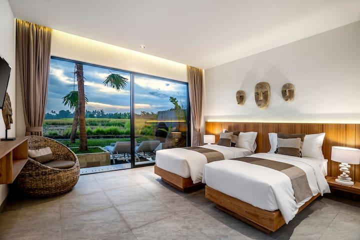 Bedroom rice fields view