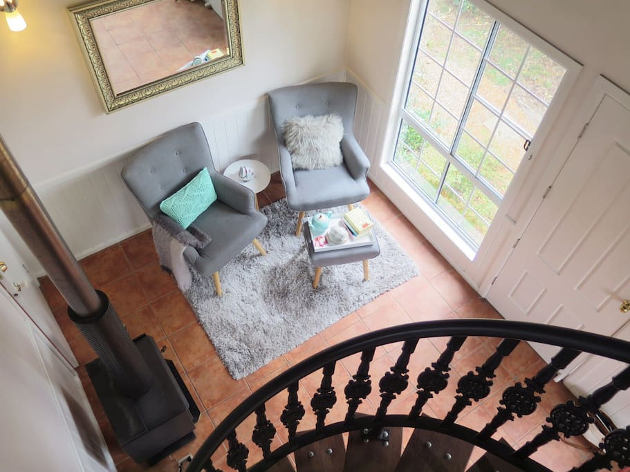 View of sitting area from the spiral staircase