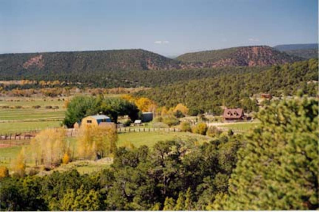 The view of the ranch from the hills above.