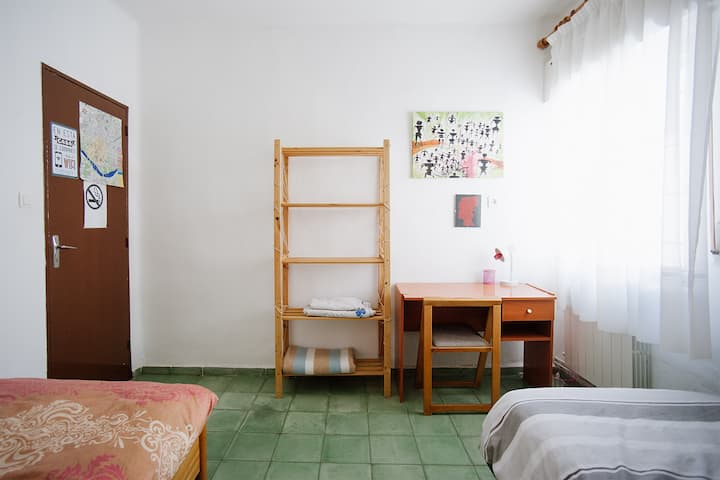 A bedroom in a spacious, quiet flat.