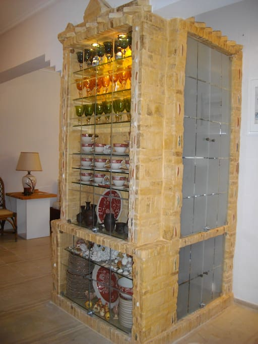 Ancient greek traditional cabinets made of art nouveau stones and sea shells, uppon my supervision.