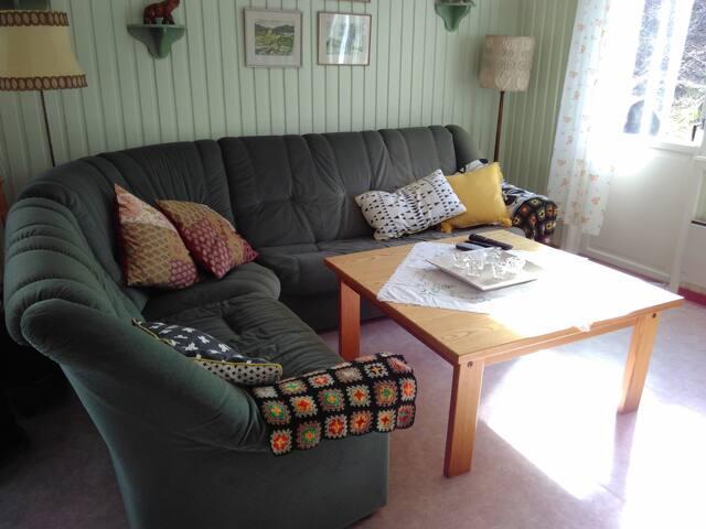 Den mysiga och generösa soffan inbjuder till umgänge och TV tittande.