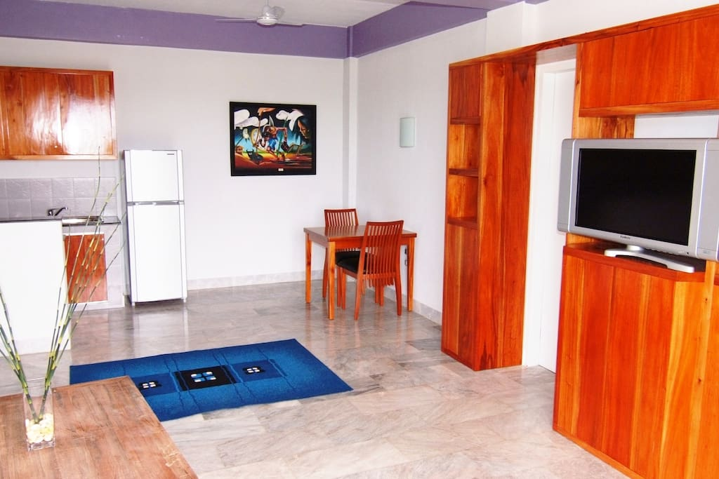 European style fully furnished apartment with well-equipped kitchen, dining and living room.
